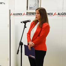 Claudia Jiménez, General Manager of Algenex, at the inauguration of Algenex's facilities in Tres Cantos - October 24, 2020